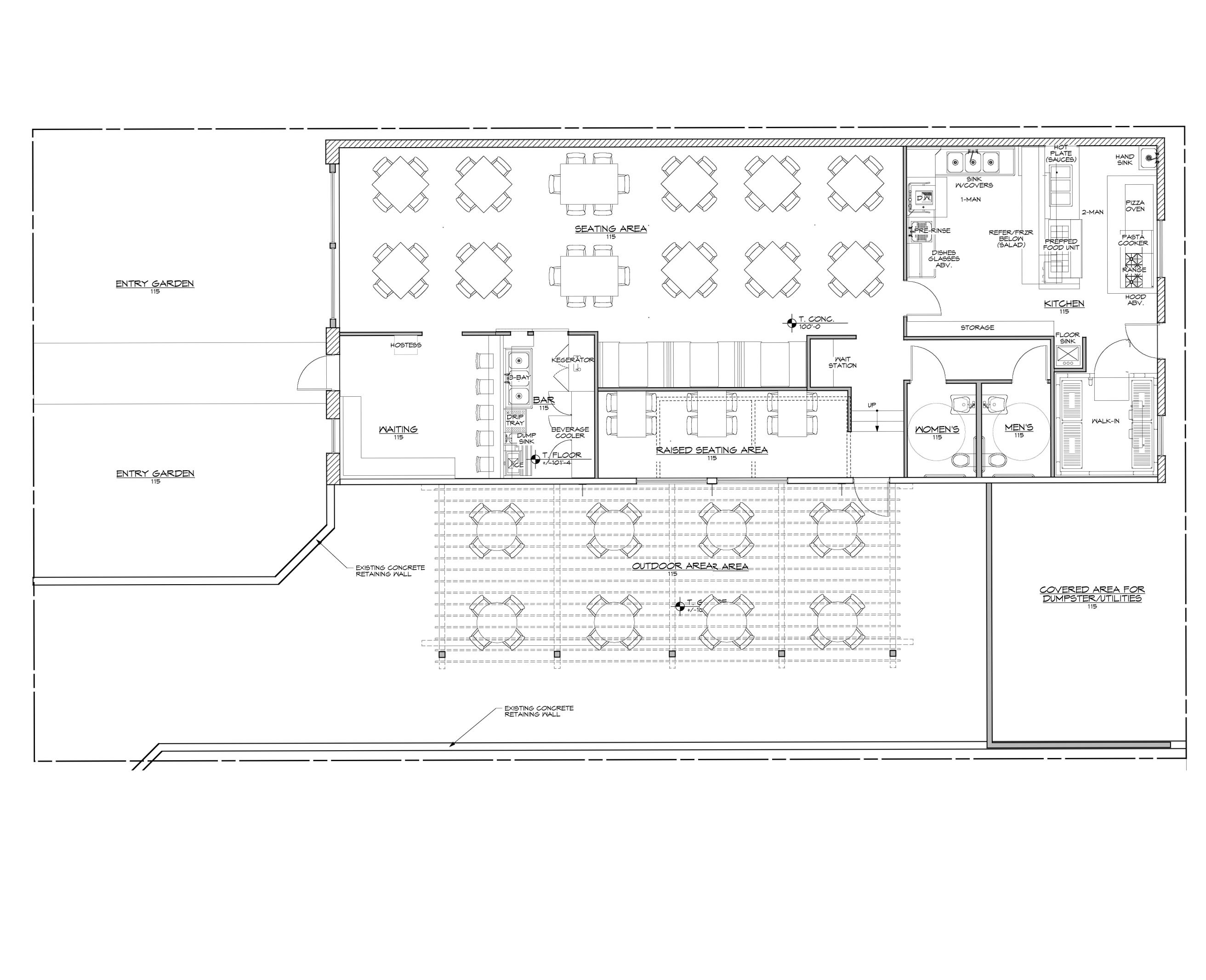 Red house architecture restaurant italian red house for Restaurant drawings floor plans